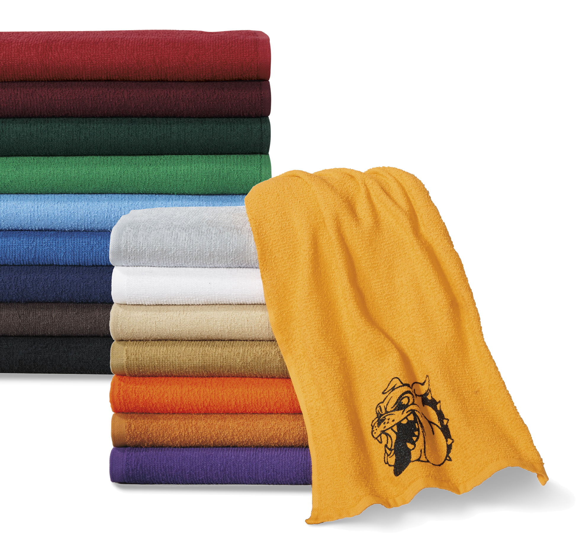 We just added custom rally towels back to our inventory. You can now design your towels with your logo or family members jersey number to show support at an event.